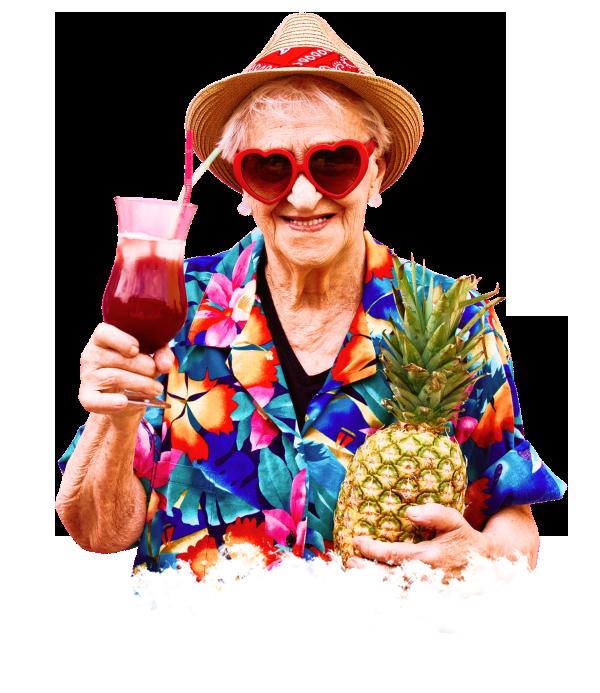 Счастливая пожилая женщина, постоялец пансионата