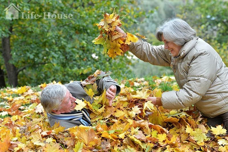 пожилая пара играет в куче листьев в парке