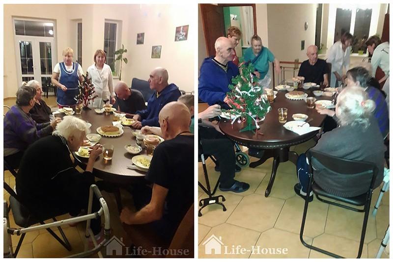 постояльцы пансионата собираются вместе за общим столом